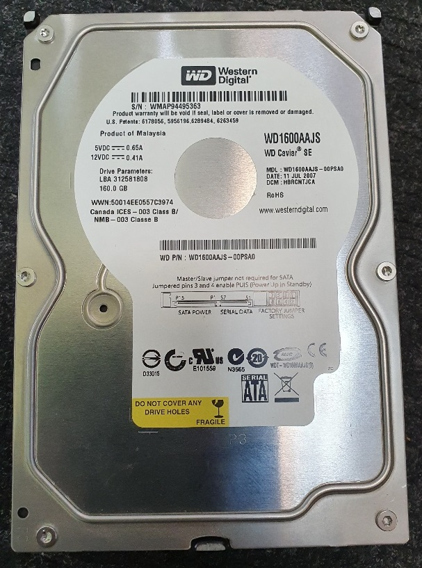 Western Digital 3,5 Zoll HDD DRIVE Intern 160GB Sata